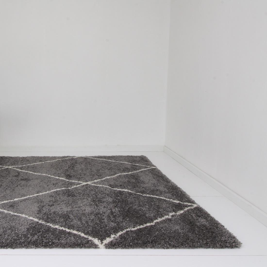 Vloerkleed Xilento Royal Nomadic Antraciet Wit | 200 x 290 cm