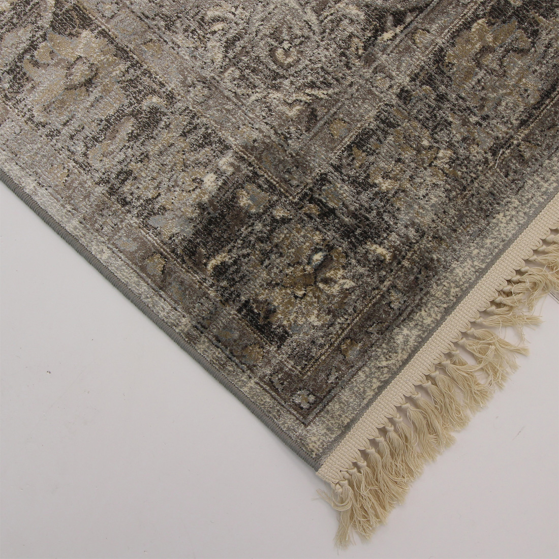 Vloerkleed Xilento Vintage Viscose Grey Beige | 160 x 230 cm